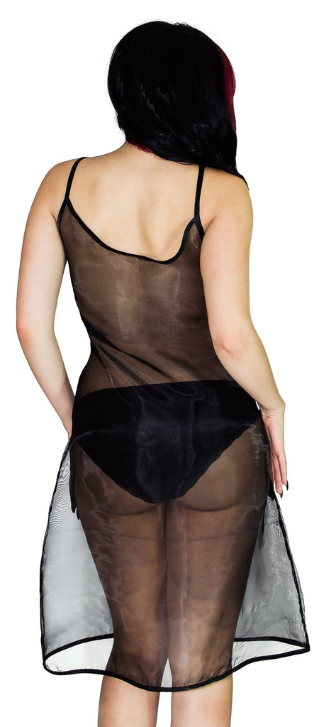 Scoop Neck Black Sheer Mini Dress - Summer - Dr Faust