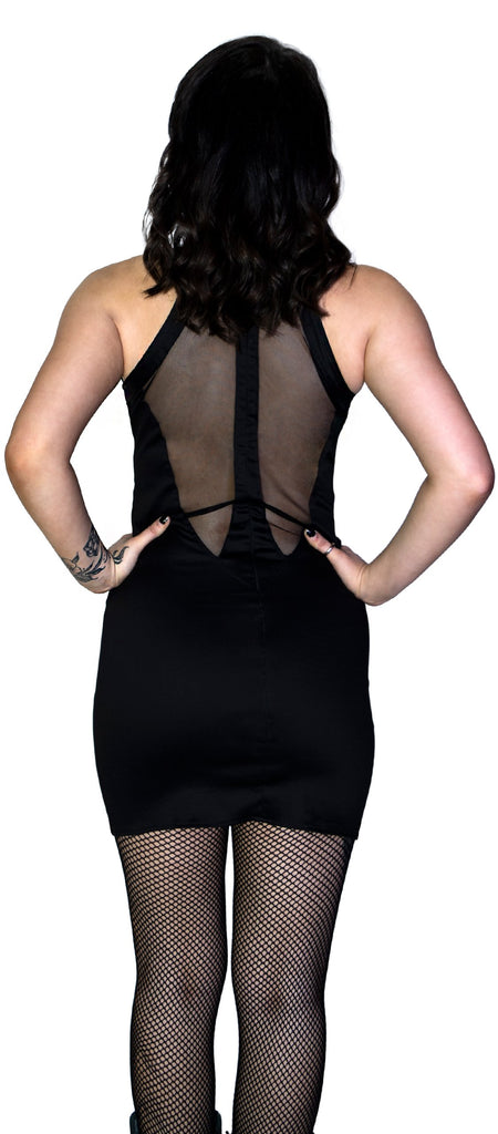See-through Lace Net Black Mini Dress - Raelyn - Dr Faust