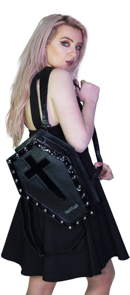 Shining Black Patent Cross Vegan Leather Coffin Bag - Iva - Dr Faust