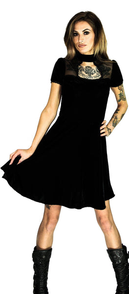 Keyhole Short Sleeve Black Velvet Mini Dress - Odette - Dr Faust