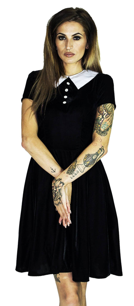 Short Sleeve Wednesday Addams Black Velvet Mini Dress - Kalinda - Dr Faust