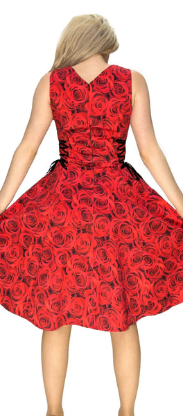 Signature Stylish Red Rose Midi Dress - Delilah - Dr Faust