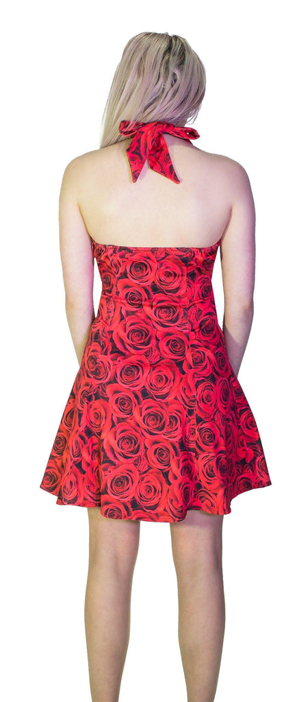 Signature Stylish Red Rose Mini Dress - Delilah
