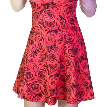 Signature Stylish Red Rose Mini Dress - Delilah - Dr Faust