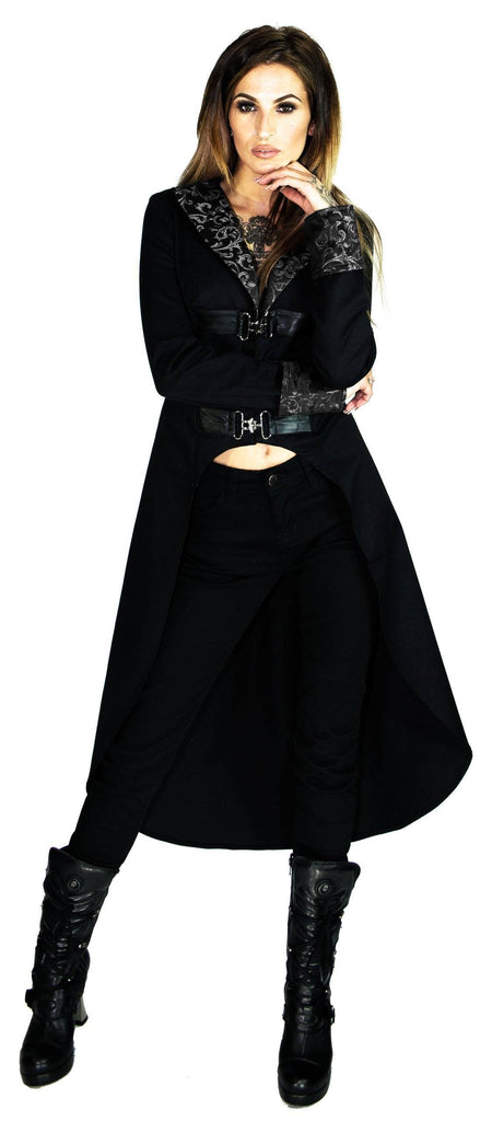 Brocade Silver Details Long Black Cotton Coat - Matilda - Dr Faust