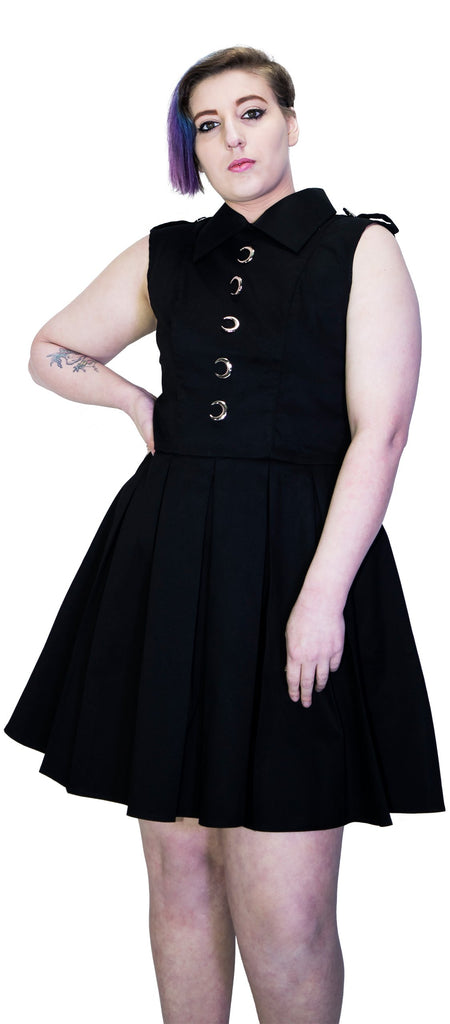 Silver Moon Buttons Black Plus Size Midi Dress - Vanda - Dr Faust