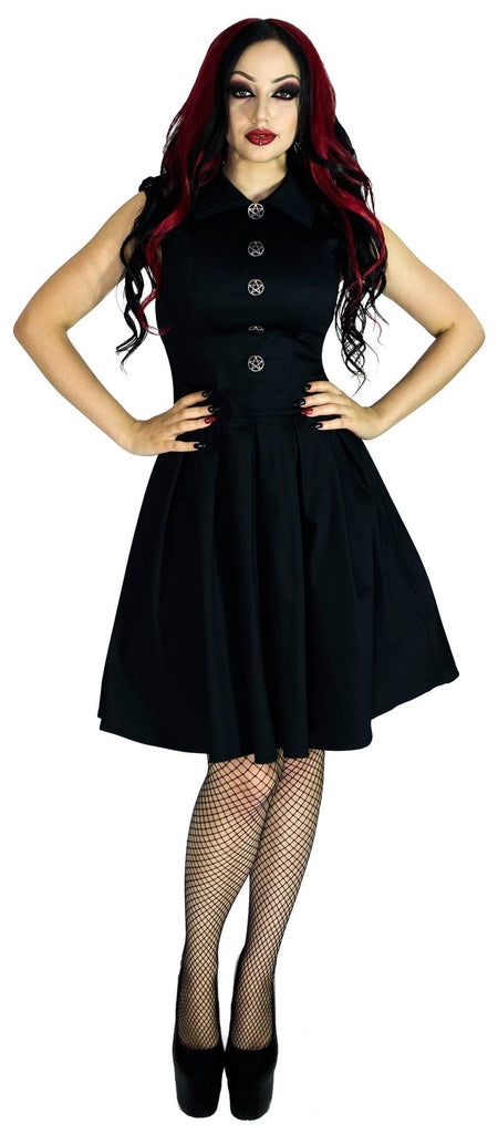 Occult Silver Pentagram Buttons Black Midi Dress - Hattie - Dr Faust