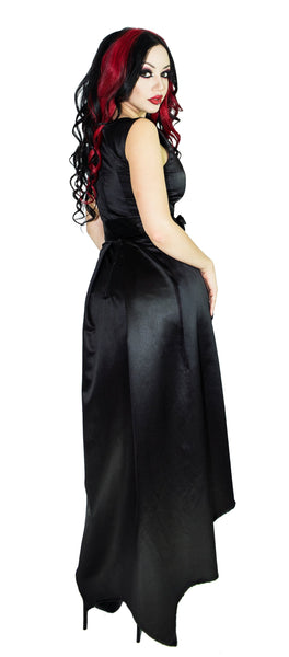 Silver Pentagram Buttons Raw Silk Black High-Low Dress - Amina - Dr Faust