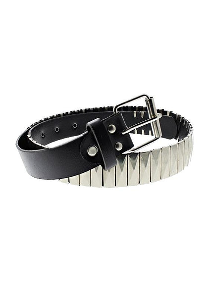 Silver Rectangular Pyramids Black Vegan Leather Belt - Jett - Dr Faust