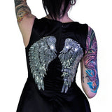 Silver Sequin Wings Black Silk Mini Dress - Hope - Dr Faust