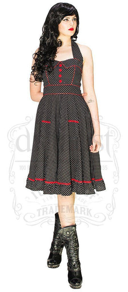 White Polka Dot Black Retro Midi Dress - Grace - Dr Faust