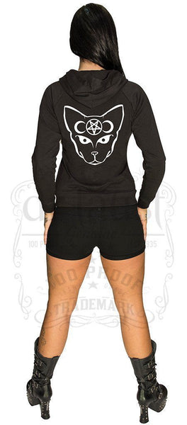 Bast Cat Moon and Pentagram Hoodie - Lincoln - Dr Faust