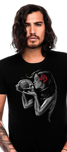 Day of the Dead Love Skull Black Men's T-Shirt - Gabriel - Dr Faust