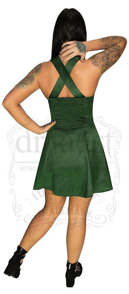 Raw Silk Green Mini Dress - Willow - Dr Faust