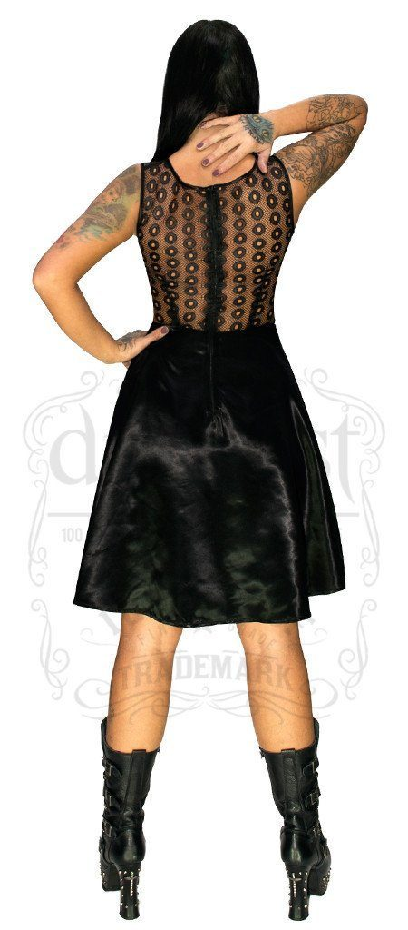 Lace Net Silk Black Midi Dress - Faira - Dr Faust