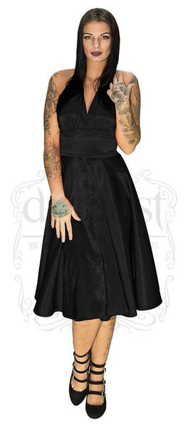 Marilyn Monroe Style Black Cocktail Midi Dress - Florence - Dr Faust