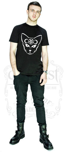 Bast Cat with Moons and Pentagram Black T-Shirt - George - Dr Faust