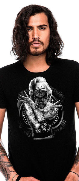 Tattoed Marilyn Monroe Black Men's T-Shirt - Oliver - Dr Faust