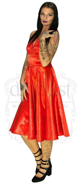 Marilyn Monroe Style Red Cocktail Midi Dress - Phoebe - Dr Faust
