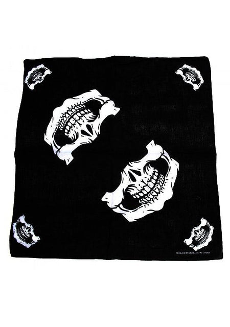 Dead Outlaw Skull Jaw Black Cotton Bandana - Lecter - Dr Faust