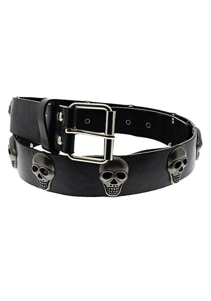 Skull Studs Black Vegan Leather Belt - Dominick - Dr Faust