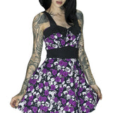 Skulls and Purple Roses Mini Dress - Michelle - Dr Faust