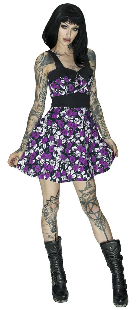 Skulls and Purple Roses Mini Dress - Michelle