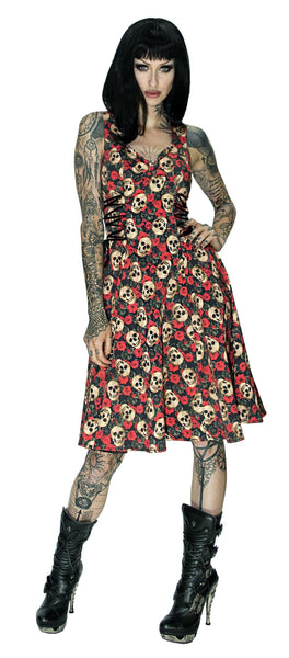 Darkly Skulls and Red Roses Midi Dress - Piper - Dr Faust