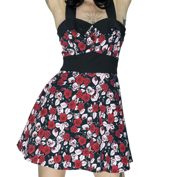 Skulls and Red Roses Mini Dress - Ember - Dr Faust