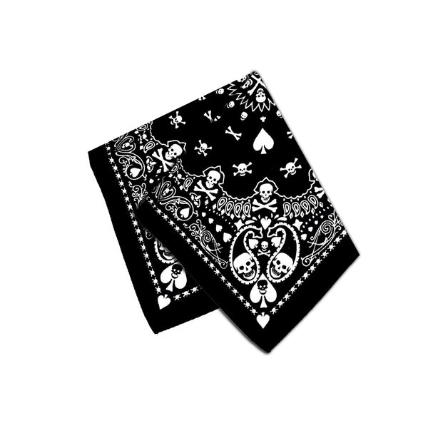 Skulls Playing Cards Black Cotton Bandana - Robert - Dr Faust