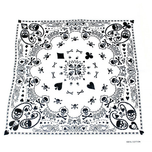 Skulls Playing Cards White Cotton Bandana - Robert - Dr Faust