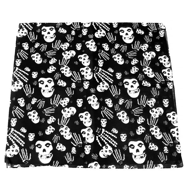 Skulls and Skeleton Hands Black Cotton Bandana - Glenn - Dr Faust