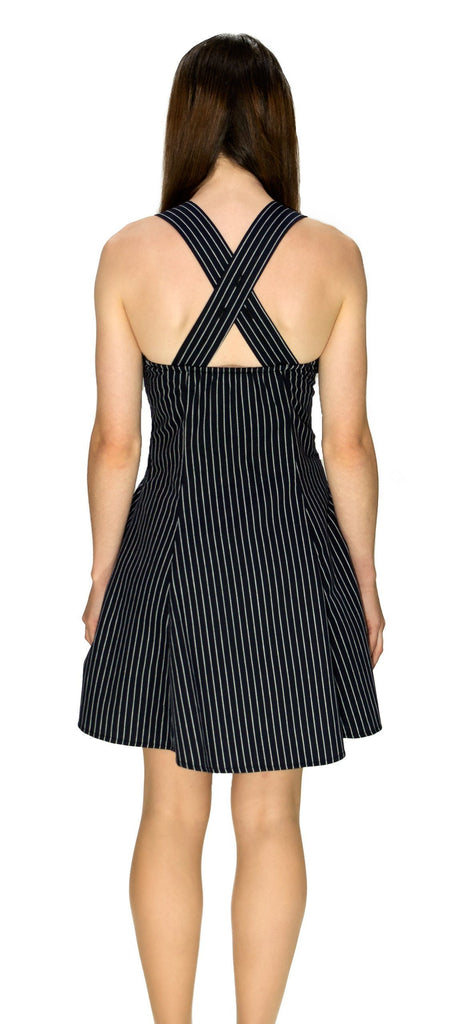Slimming Pinstripe Black & White Mini Dress - Gia