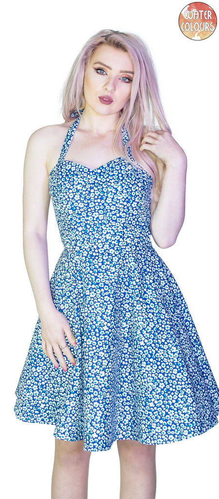 Small White Flowers Blue Mini Dress - Ivana