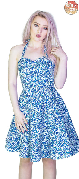 Small White Flowers Blue Mini Dress - Ivana - Dr Faust