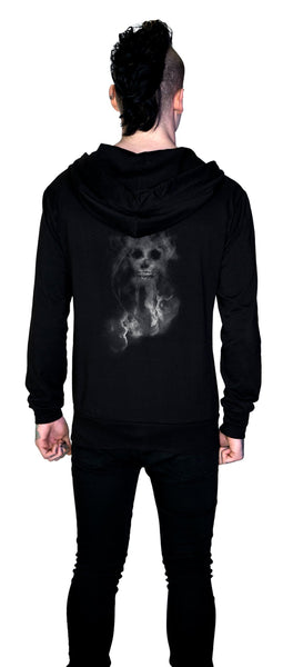 Smoke Skull Thin Men's Black Hoodie - Maxim - Dr Faust