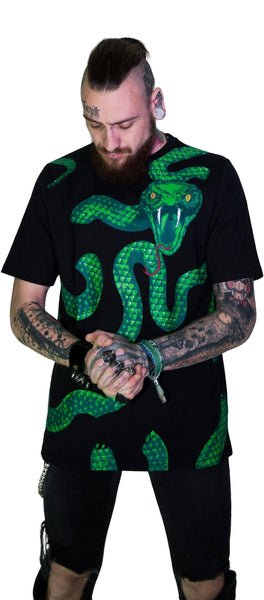 Green Snake God Black T-Shirt - Joshua - Dr Faust