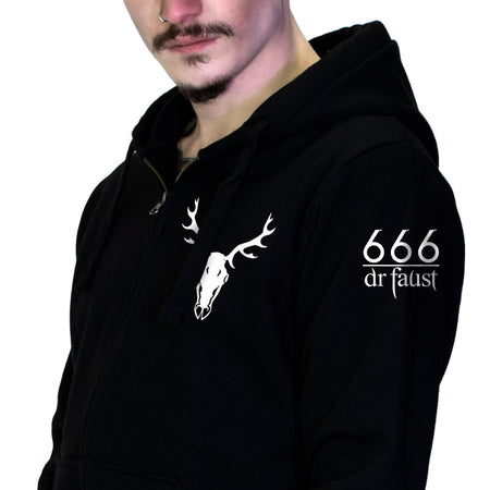 Stag Skull 666 Thick Men's Black Hoodie - Konnor - Dr Faust