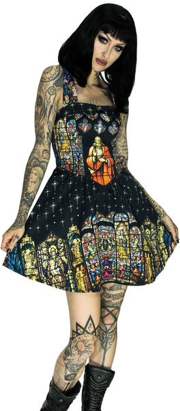 Stained Windows Pattern Jesus Mini Dress - Jillian - Dr Faust