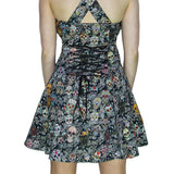 Sugar Skulls Colourful Halter Neck Mini Dress - Oasis - Dr Faust