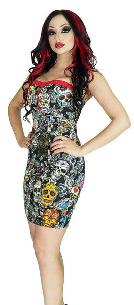 Sugar Skulls Colourful Mini Dress - Annalee