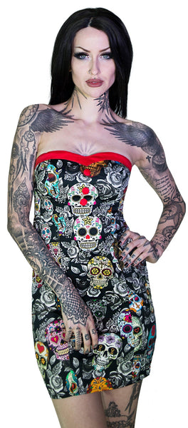 Sugar Skulls Colourful Mini Dress - Annalee - Dr Faust