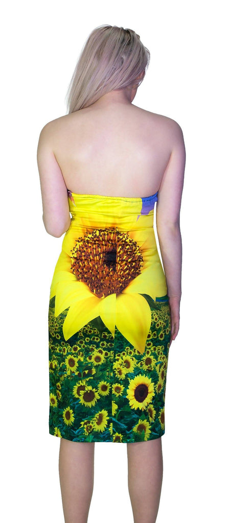 Sunflower Field Summer Colourful Midi Dress - Becka - Dr Faust