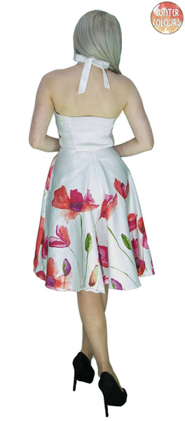 Field Poppy Flowers White Midi Dress - Talitha - Dr Faust