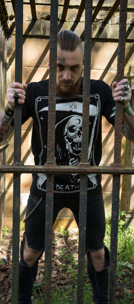 Tarot Card Laughing Death Nu Goth Black T-Shirt - Morte - Dr Faust