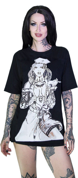 Tattooed Sexy Cursed Nurse Black T-Shirt - Tristan - Dr Faust