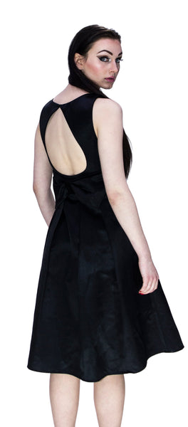 Tear Drop Black Raw Silk Midi Dress - Valentina - Dr Faust