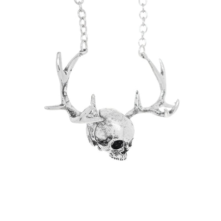 The Stag Silver Skull Antlers Pendant and Necklace - Karsyn - Dr Faust