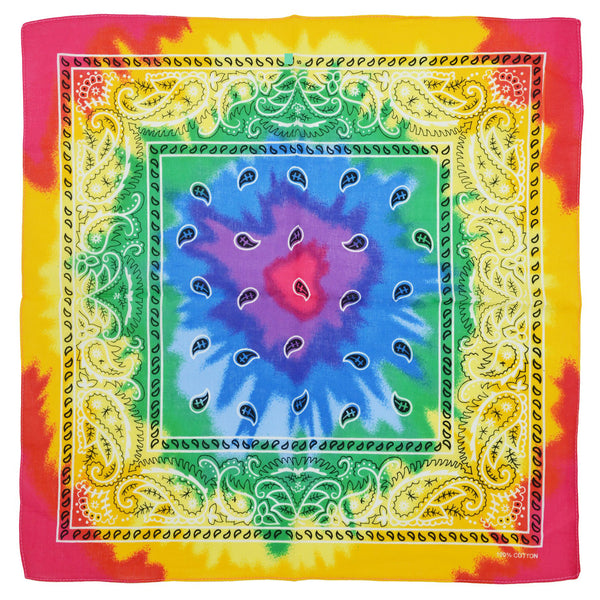 Tie Dye Design Rainbow Cotton Bandana - Everard - Dr Faust