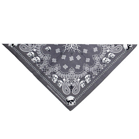 Tribal Skulls Gray Cotton Bandana - Bradford - Dr Faust